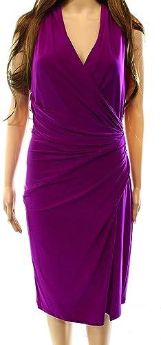 Lauren Ralph Lauren Womens Ruched Sleeveless Cocktail Dress Purple 8