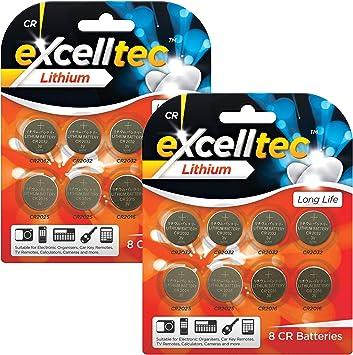 excelltec Batería de Litio con 8xCR2032 3V batería, 4xCR2025 baterías y 4 xCR2016 3V para Relojes, Controles remotos, calculadoras y Llaves Pack de 16: Amazon.es: Electrónica