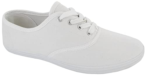 74ab6c5a96bc LADIES WOMENS PLIMSOLES LACE UP FLAT PUMPS PLIMSOLLS CANVAS GIRLS TRAINERS  SIZE 3 UK White 36