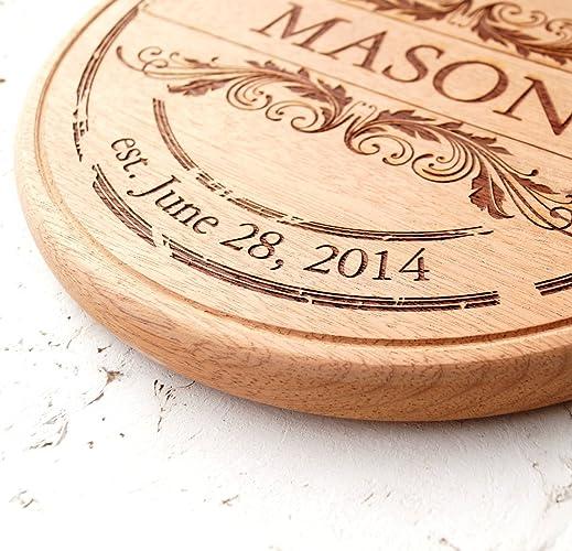 amazon com personalized round cutting board wooden cutting board