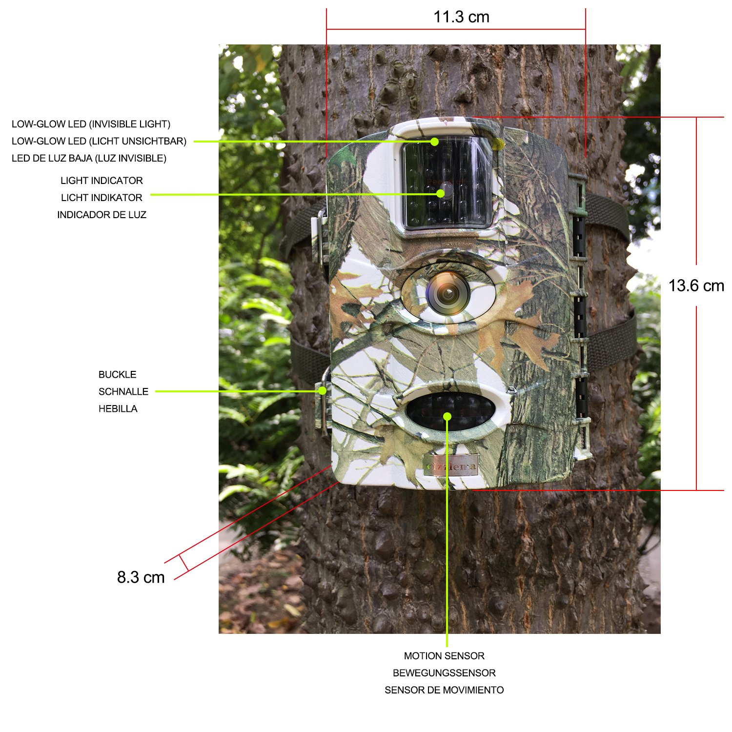 Amazon.com : Vizzlema Trail Camera-12MP Wildlife Hunting amera 65ft Infrare Game Camera Motion Activated 65ft Long Range No Glow Infrared Night Version with ...