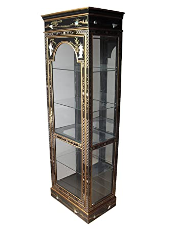 Oriental Chinese Furniture   Black Lacquer Display Cabinet With Mother Of  Pearl Inlay