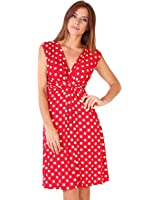 KRISP® Women Maternity Jersey Dress Polka Dot Knot Front Maternity Nursing