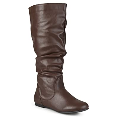 Womens Regular Sized and Wide-Calf Mid-Calf Slouch Riding Boots