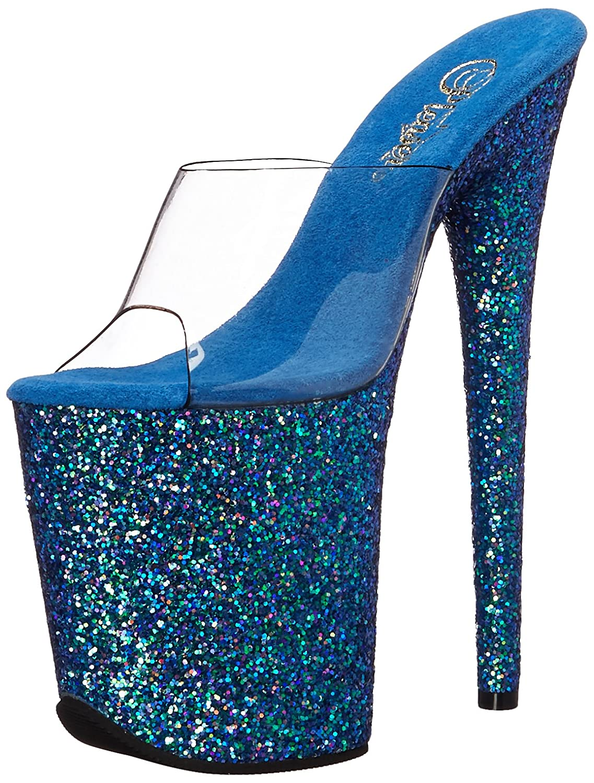 Pleaser Sandalen Damen Flamingo-808lg Offene Sandalen Pleaser Clr/Blau Holo Glitter 18f280