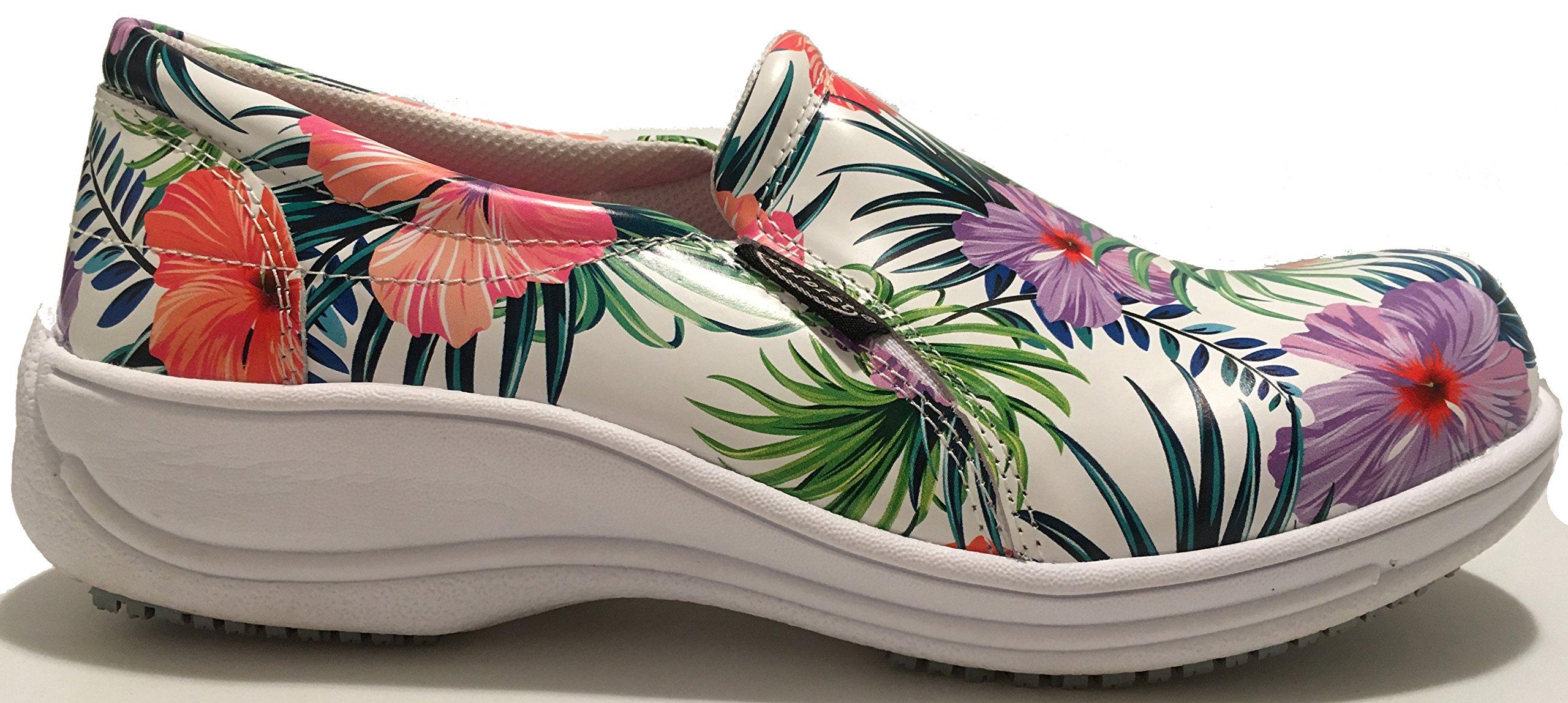 Laforst Joana 7018 Womens Work Slip Resistant Slip On Clogs White Floral 9