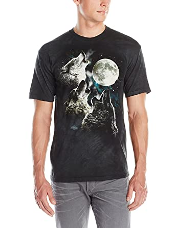 11b42238 The Mountain Men's Three Wolf Moon Short Sleeve T-Shirt,Dark Green,Small