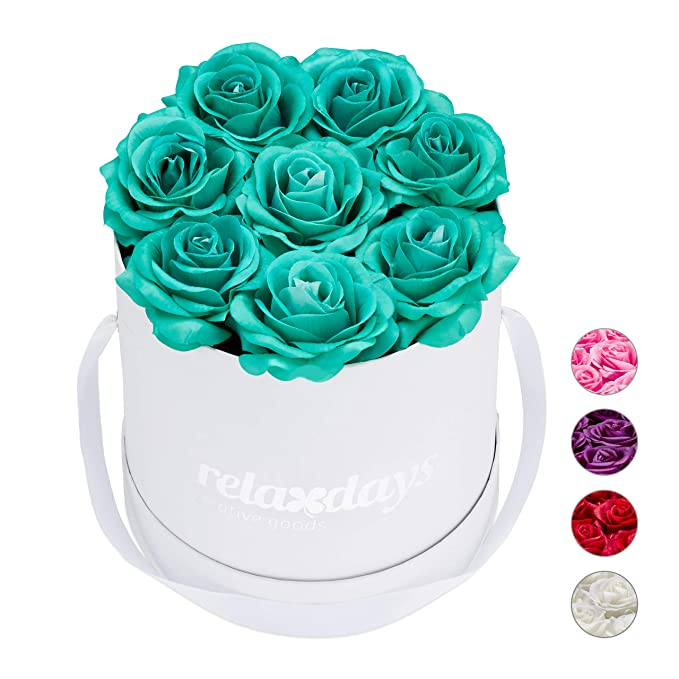 Last 10 Years Relaxdays Round Flowerbox with 8 Faux Roses White Black Box Decorative Bouquet 17 x 17 x 17 cm Gift
