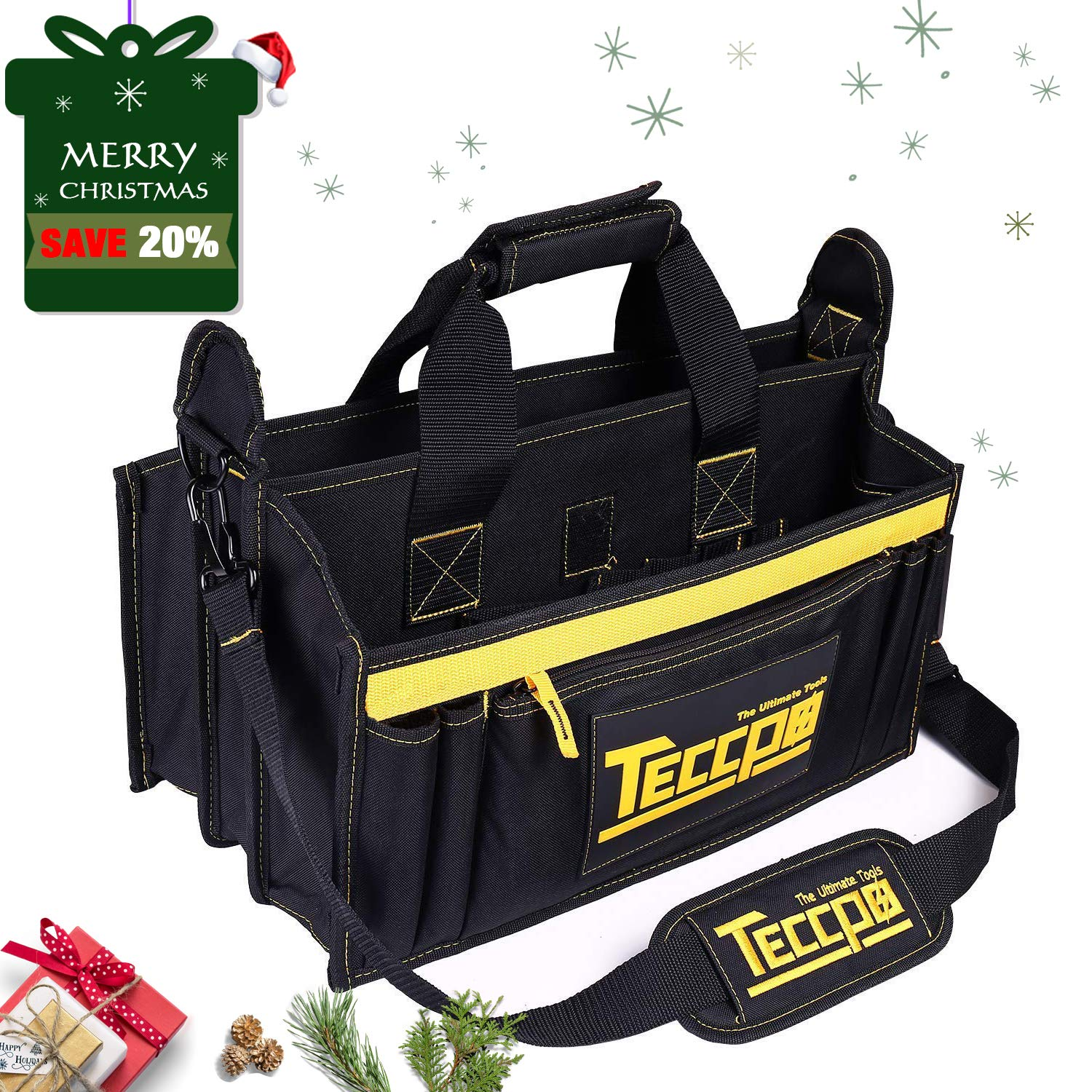 Tool Bag, TECCPO Heavy Duty Bag, Strong Bag Storage with Wear Resistant Rubber Base, Adjustable Shoulder Strap, Rubber Handles, 8 External Pockets, 8 Internal Pouches - THTB02B