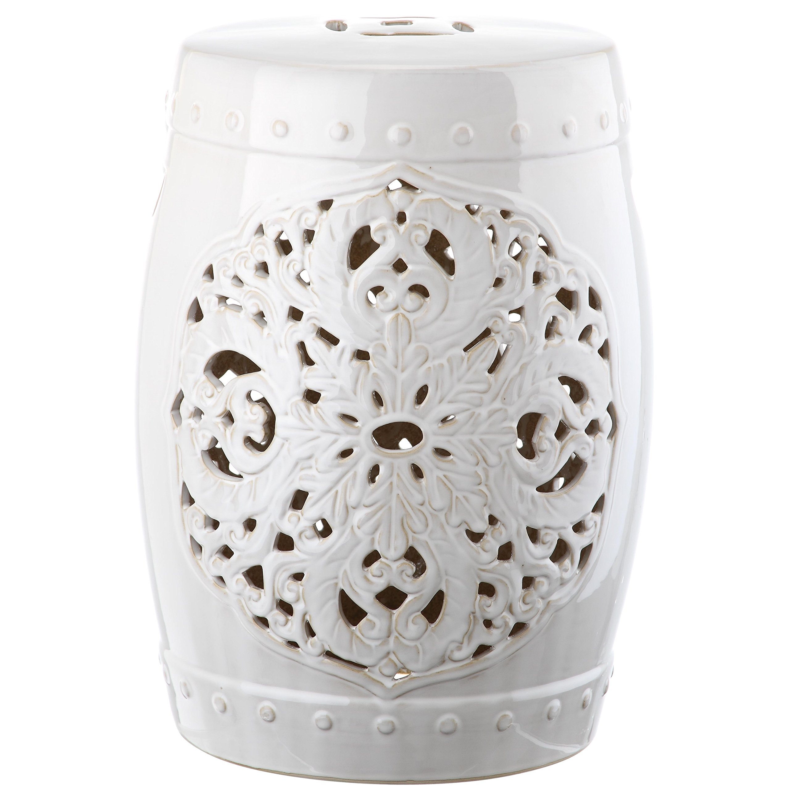 Safavieh Castle Gardens Collection Flora White Glazed Ceramic Garden Stool