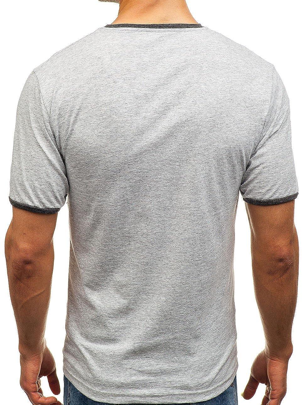 BOLF Herren T-Shirt Kurzarm Rundhalsausschnitt O-Neck Basic Unifarben Sport Casual Freizeit Unterhemd Style 3C3