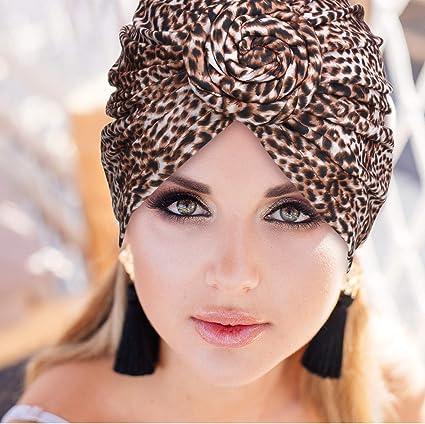 Schwarze Blume mit Leopardenmuster SATINIOR 4 St/ücke Afrikanisches Muster Headwrap Vorgebundene Haube Turban Knot Beanie Kopf Hat