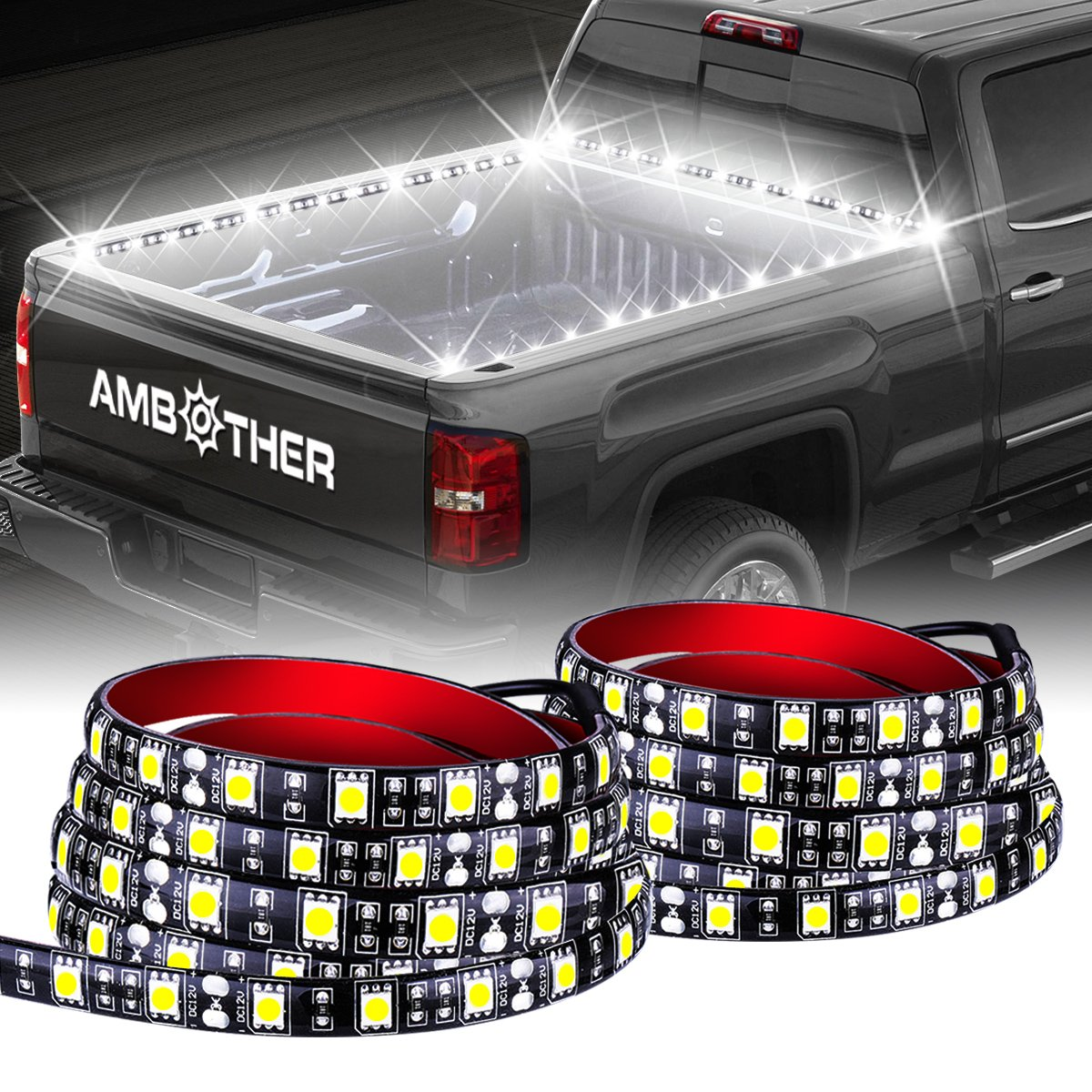 """AMBOTHER 2PCS 60""""Cargo Truck Bed Lights Strip Flexible Light bar White LED light for Truck Boat Pickup RV SUV,With On-Off Switch Fuse 2-Way Splitter Cable,No-Drill,1 Year Warranty"""