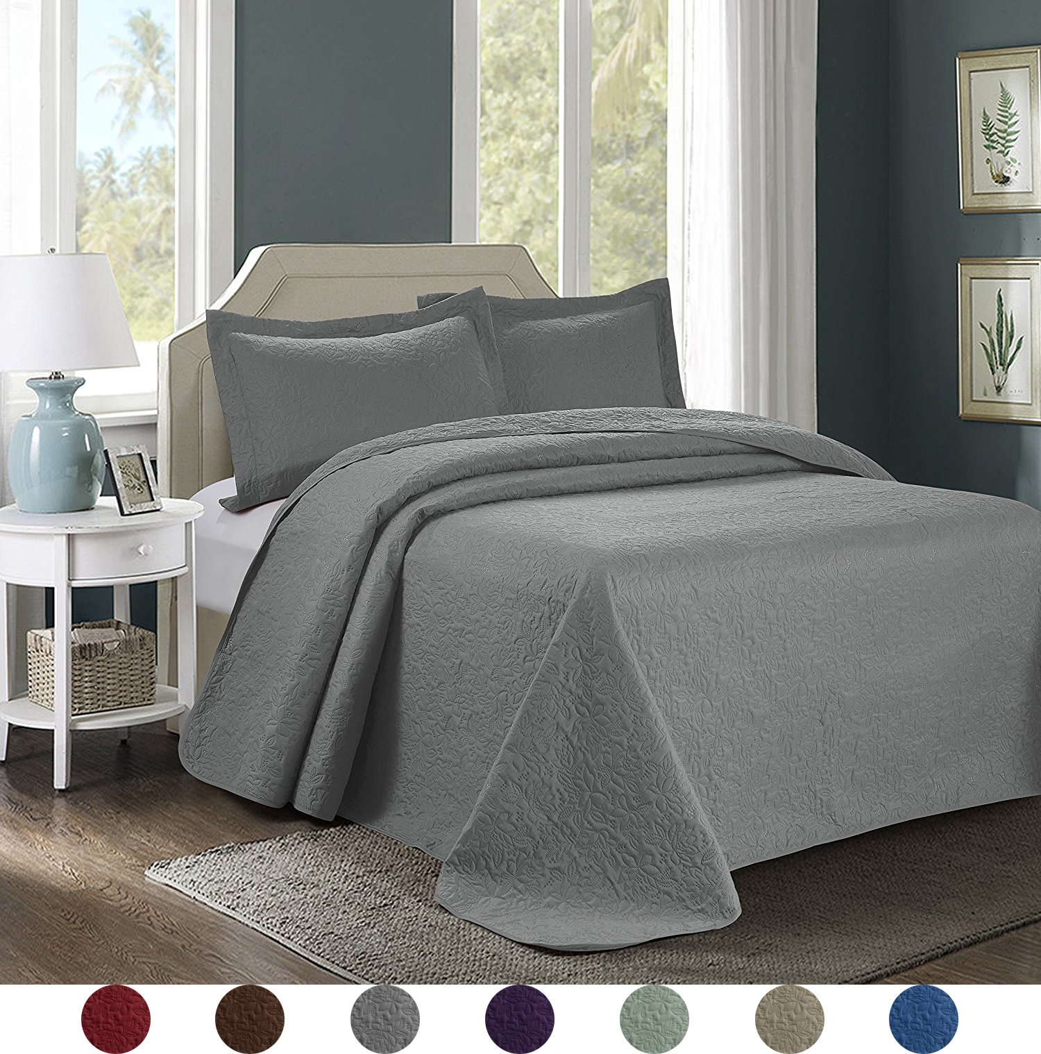 3 Piece Luxurious Comfy Embossed Bedspread Set,Oversized Ultrasonic Thermal Pressing Embossed Coverlet Set,Moderate Weight Bed Spread,JULES(Queen,Gray)
