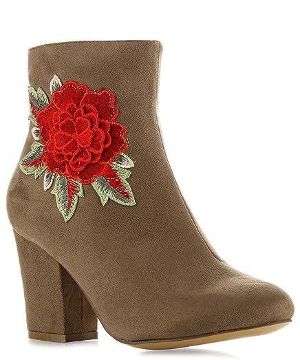 Women's Vegan Suede 3D Flower Embroidered On Heel Slip On Side Zipper Almond Toe Ankle Booties