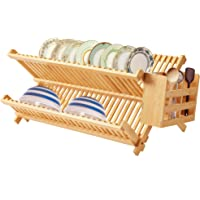 Bamboo Dish Drying Rack, Bamboo Folding 2-Tier Collapsible Drainer Dish Rack with Utensils Kitchen Rack Plate Holder