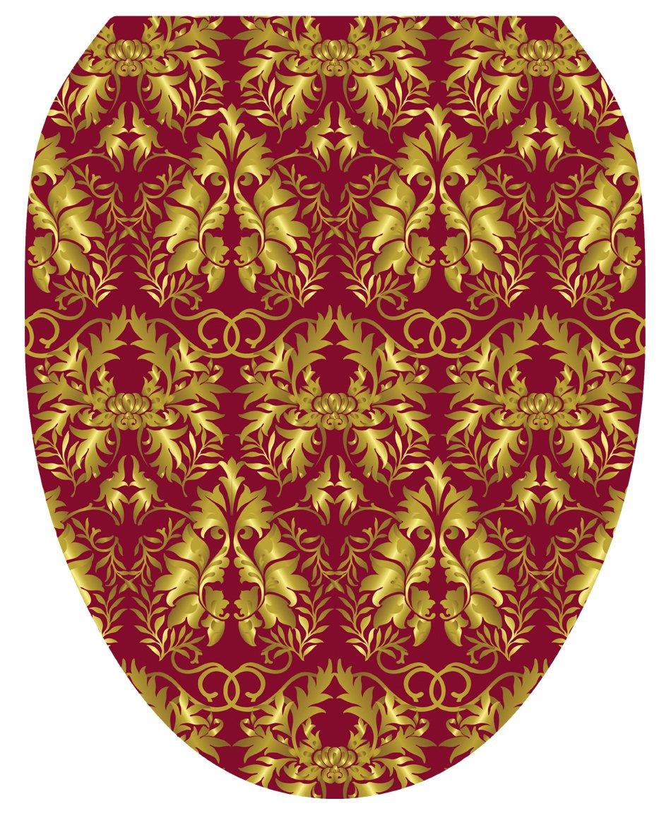 Toilet Tattoos TT-1038-R Rococo Wine and Gold Design Toilet Seat Applique, Round