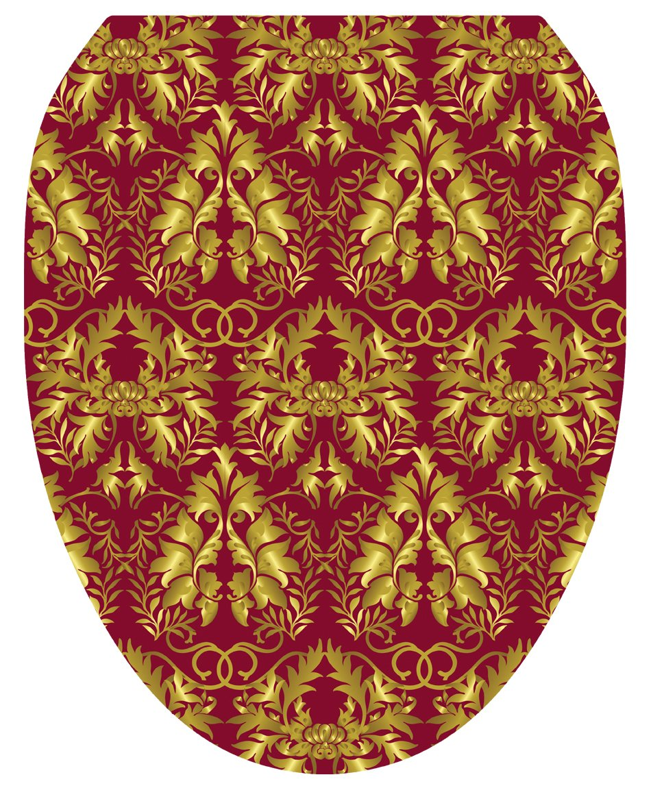 Toilet Tattoos TT-1038-O Rococo Wine and Gold Design Toilet Seat Applique, Elongated by Toilet Tattoos
