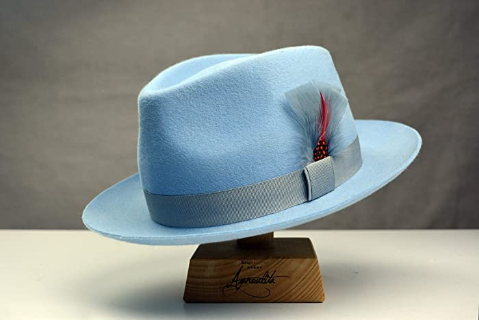 610575c38766f Amazon.com  The Clubber - Rabbit Fur Felt Fedora Hat - Medium Brim - Men  Women  Handmade