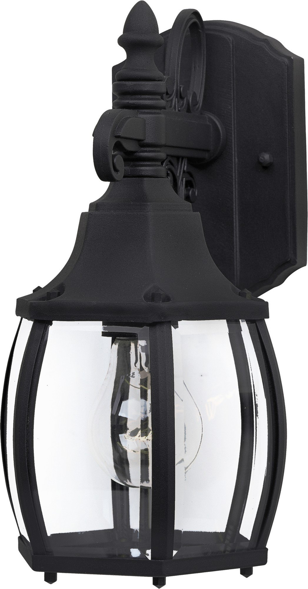 Maxim 1031BK Crown Hill 1-Light Outdoor Wall Lantern, Black Finish, Clear Glass, MB Incandescent Incandescent Bulb , 40W Max., Dry Safety Rating, Standard Dimmable, GLASS Shade Material, 3600 Rated Lumens
