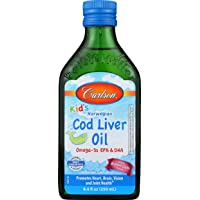 Carlson - Kid's Cod Liver Oil, 550 mg Omega-3s, Vitamins A & D3, Wild Norwegian, Bubble Gum, 250 mL