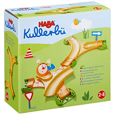 HABA Kullerbu Expansion Set - Swing Switch Rails - Two Curved Switches Rotate to Allow Ultimate Flexibility and Junctions with Kullerbu Track: Toys & Games