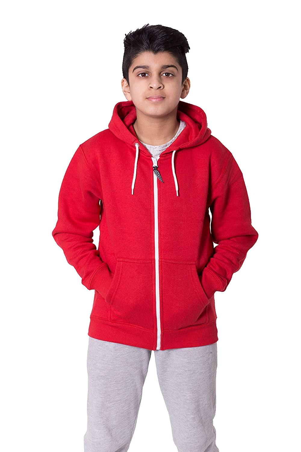 Noroze Boys Girls Plain Fleece Hoodie Full Length Sleeve Sweatshirt Top Age 5-13 Nrz-3991-5