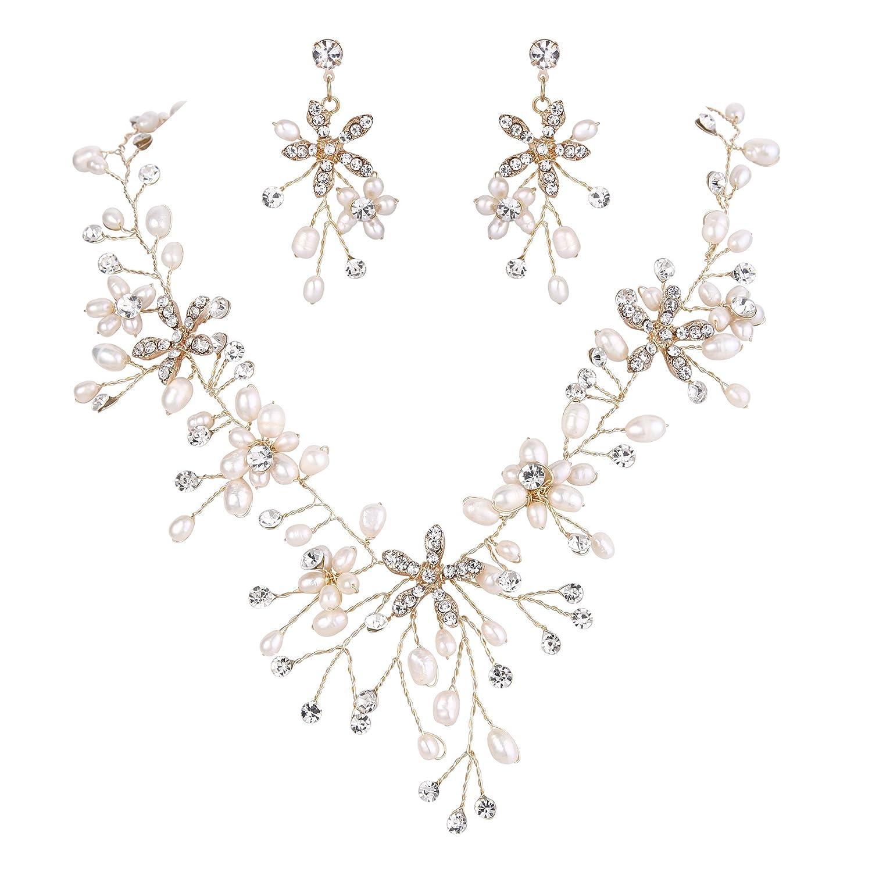 BriLove Women's Bohemian Boho Crystal Teardrop Freshwater Cultured Pearl Handmade Filigree Flower Statement Necklace Dangle Earrings Set