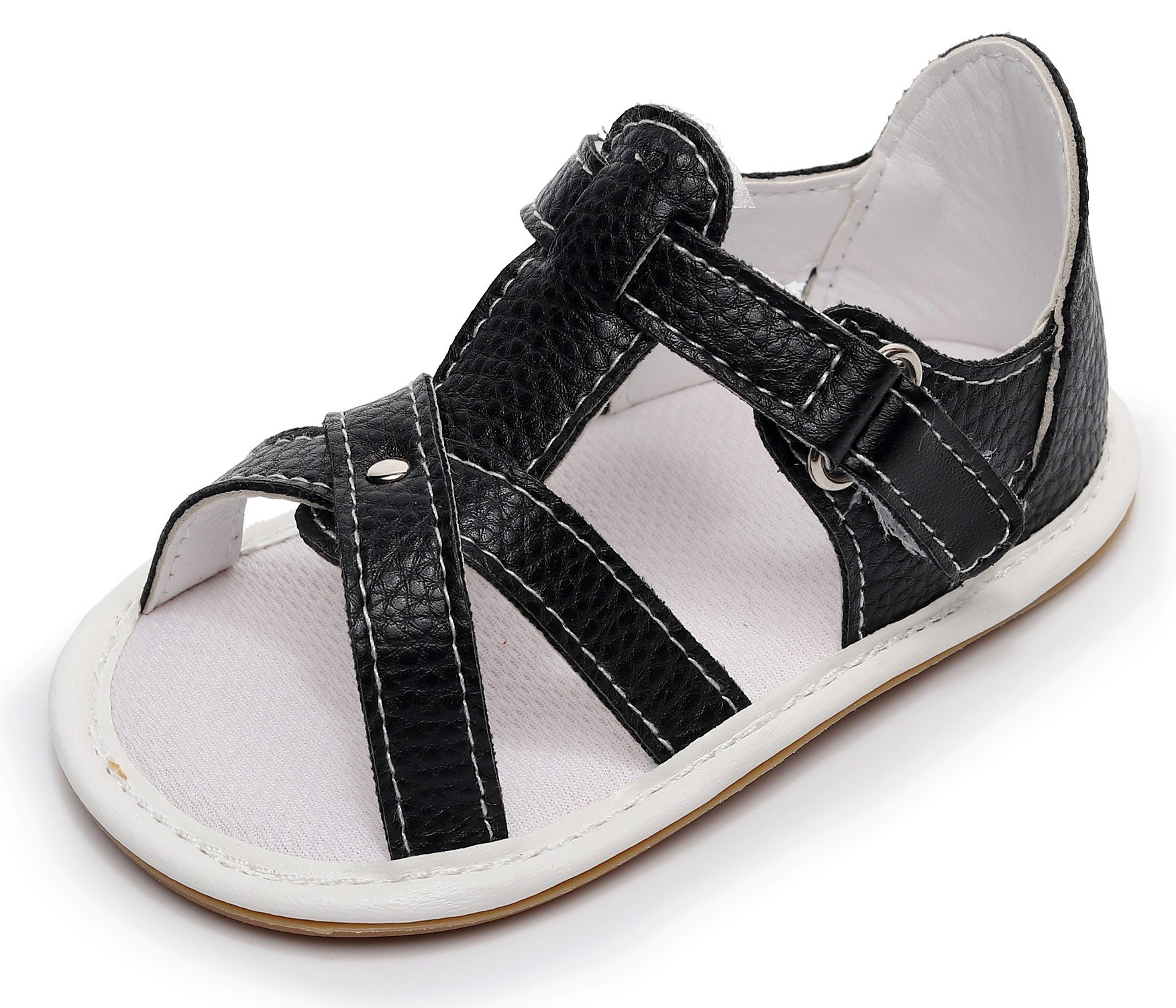 """b8f97bd82e5cf7 Bebila Rubber Sole Baby Girl Summer Shoes - Baby Boys Sandals with Pu  Leather First Walkers Toddler Moccasins(US 3.5 4.33"""" 0-3months"""