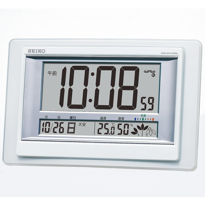 セイコー クロック 掛け時計 置き時計 兼用 電波 デジタル カレンダー 快適度 温度 湿度 表示 白 パール SQ432W SEIKO B00MFBEFXU