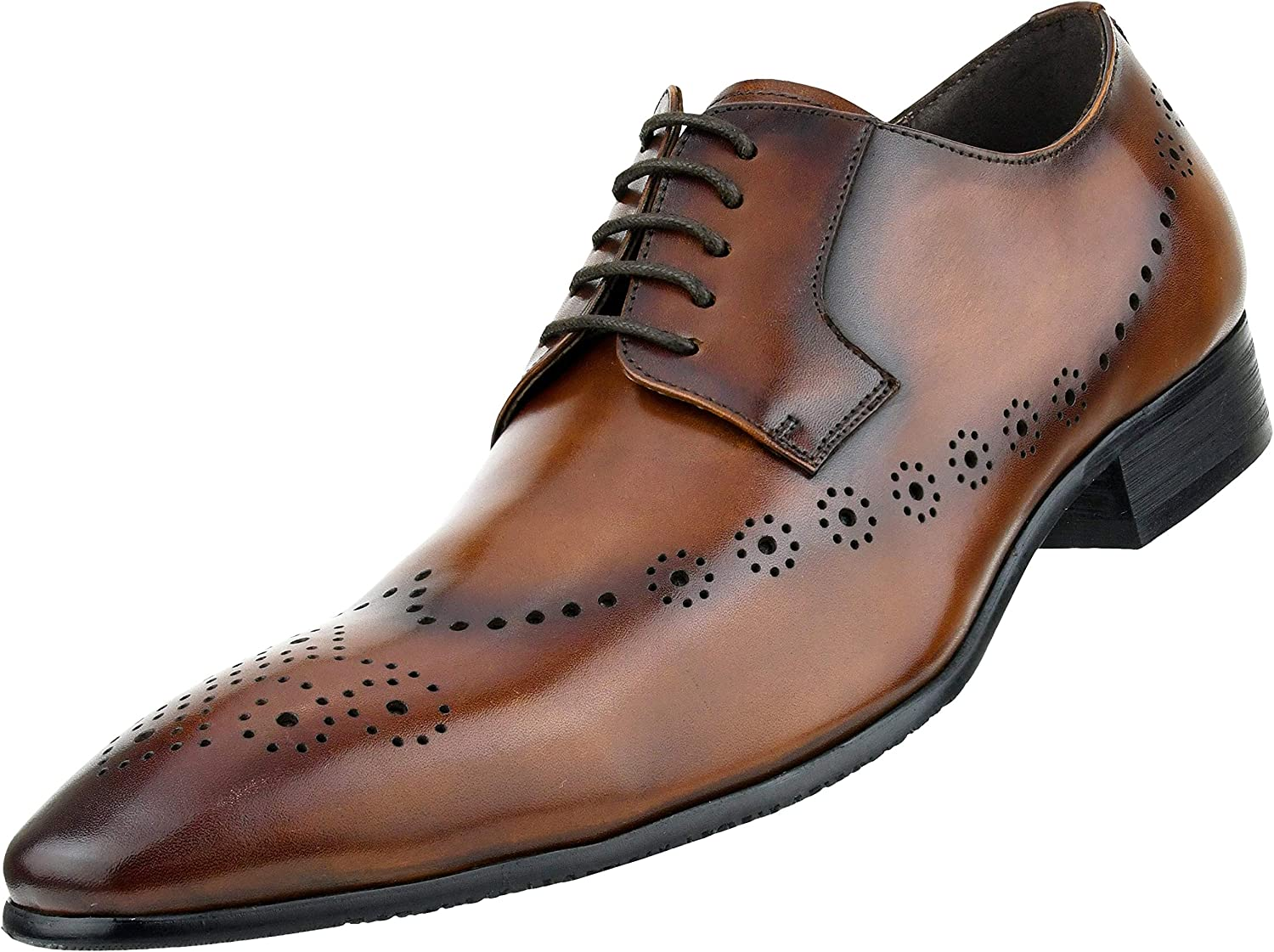 Style AG820 Asher Green Mens Genuine Leather Oxford with Decorative Perfortated Toe and Wing Tip Design Dress Shoe