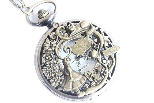 Amazon ancient brass alice in wonderland pocket watch pendant ancient brass alice in wonderland pocket watch pendant necklace with charm chain jewelry aloadofball Gallery
