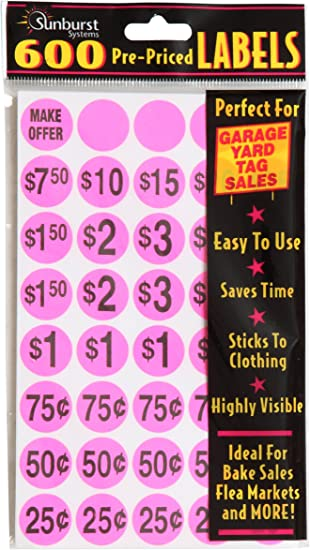 Amazon Com Sunburst Systems 7030 Priced Color Dot Garage Sale Pink 600 Ct Pre Printed Labels Home Improvement