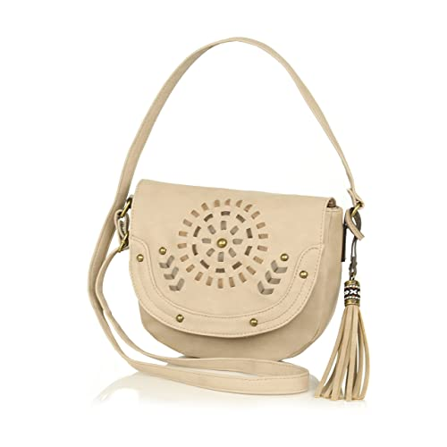 cd83ed020292 Taupe Embroidered Faux Leather Crossbody