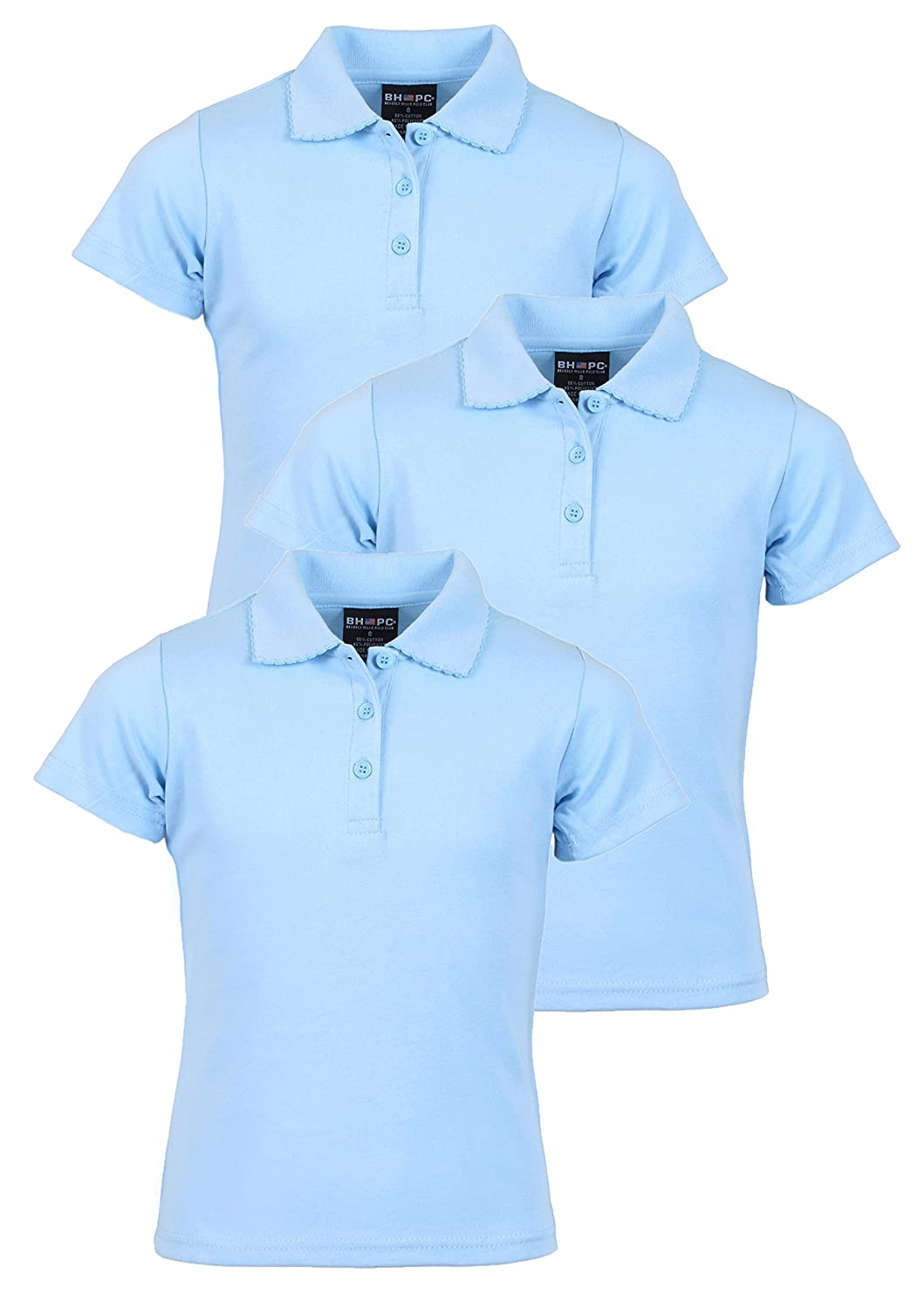 Beverly Hills Polo Club 3 Pack of Girls' Short Sleeve Interlock Uniform Polo Shirts