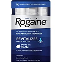 3-Pack Rogaine Men's Minoxidil Foam for Hair Loss and Hair Regrowth