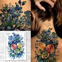 Supperb Temporary Tattoos - Watercolor Blue Flowers Bouquet of Summer Dream