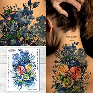 Amazoncom Supperb Temporary Tattoos Watercolor Blue Flowers