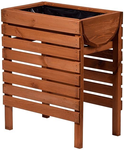 dobar - Bancal de Madera Decorativo (Pino, marrón) para jardín ...