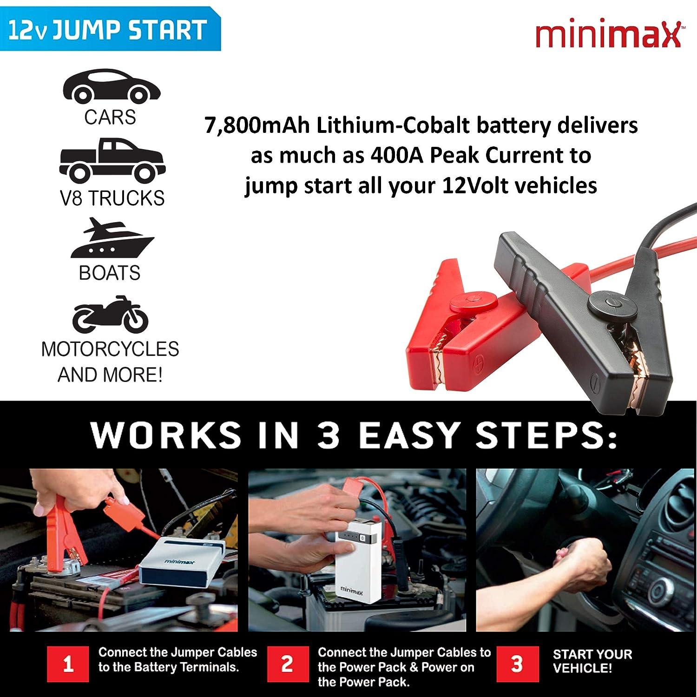 Amazon Com Minimax Portable Power Pack 7800mah Car Jump Starter