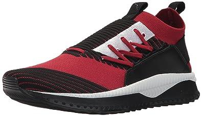 PUMA Men s Tsugi JUN Sneaker red Dahlia Black White b8f0bb618