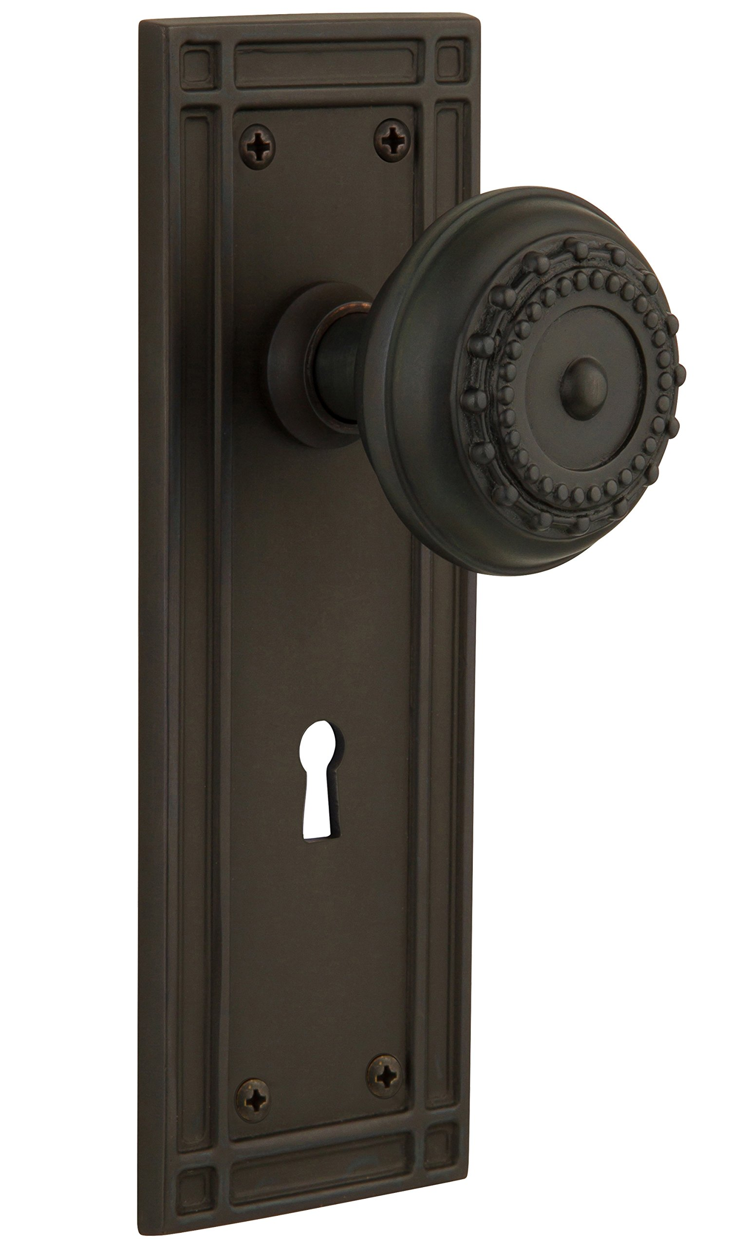 Nostalgic Warehouse Mission Plate with Keyhole Meadows Knob, Mortise - 2.25'', Oil-Rubbed Bronze