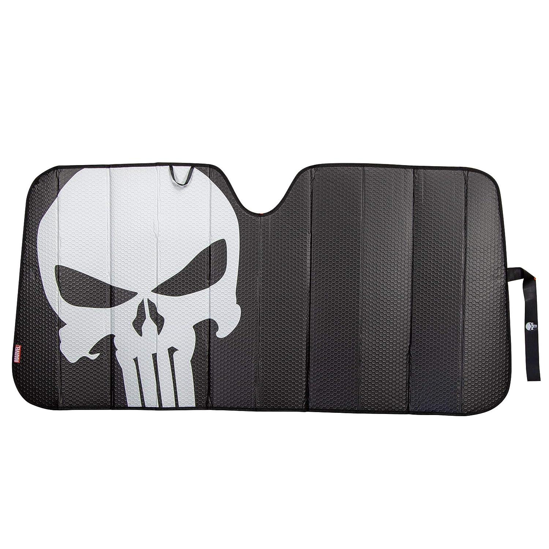 Plasticolor 003899R01 Marvel The Punisher Logo Black Matte Finish Car Truck or SUV Front Windshield Sunshade