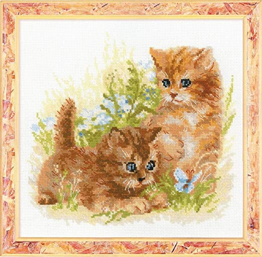 Counted Cross Stitch Kit 15.75 x11.75 Zweigart 14ct Furry Friends Flaxen AIDA 20 Colors RIOLIS 1247