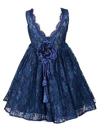 14c518c32 Amazon.com  princhar Girl s Lace V Back Flower Girl Dress Girls Kids ...