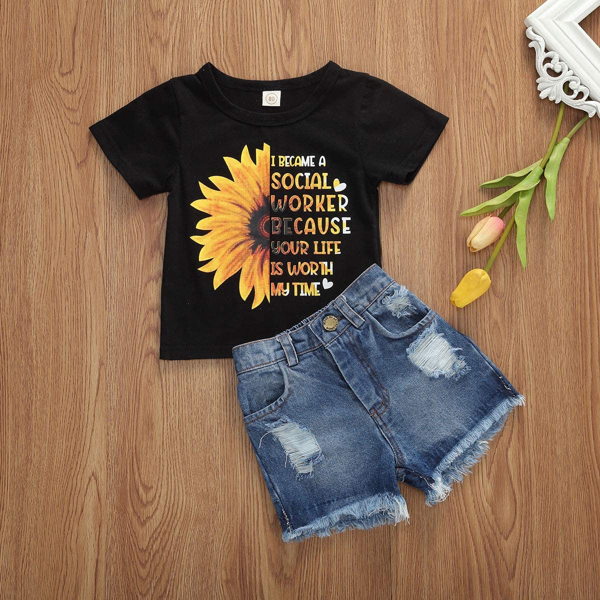 Floral Denim Shorts Outfits 2pcs//Set Toddler Kids Girl Sunflower Outfits Sleeveless Vest Tops