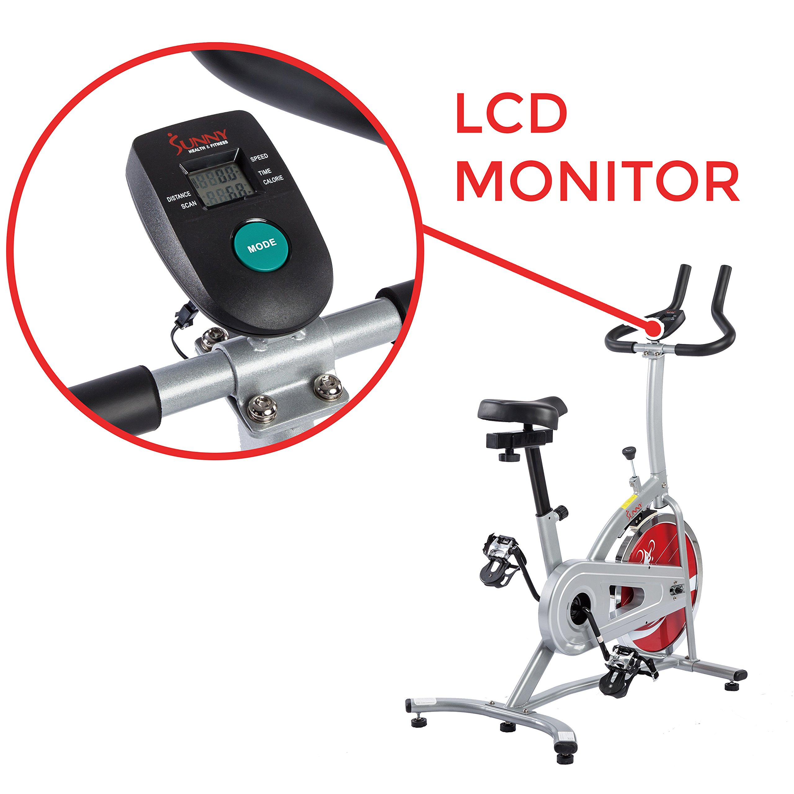 Sunny Health & Fitness Indoor Cycling Exercise Stationary Bike with Monitor and Flywheel Bike - SF-B1203 by Sunny Health & Fitness (Image #3)