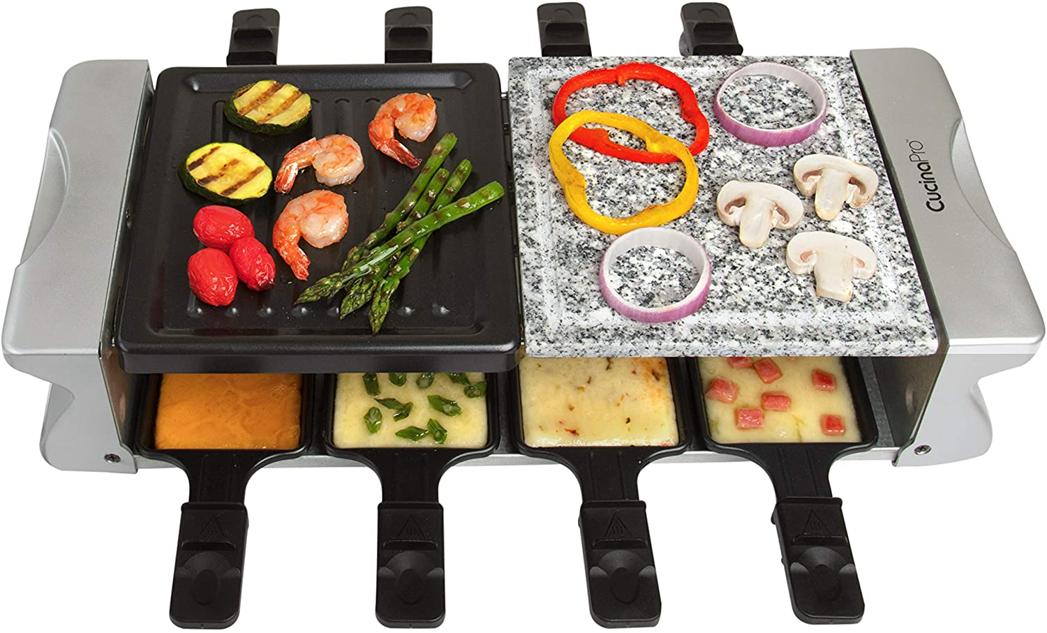 Dual Cheese Raclette Table Grill w Non-stick Grilling Plate and Cooking Stone- Deluxe 8 Person Electric Tabletop Cooker- Melt Cheese and Grill Meat and Vegetables at Once