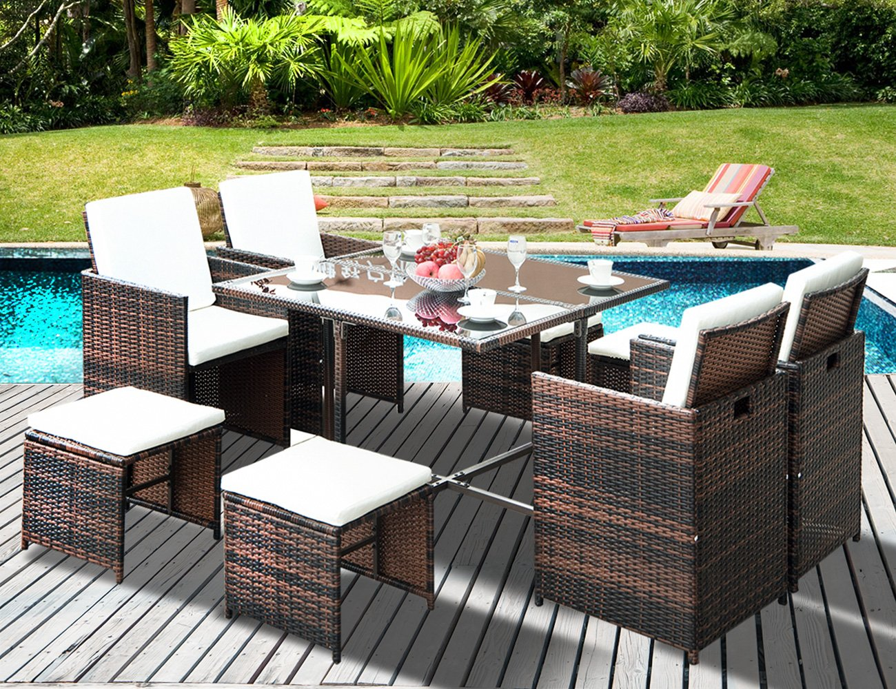 LZ LEISURE ZONE 9 Piece Patio Furniture Dining Set Outdoor Garden Wicker Rattan Dining Table Chairs Conversation Set with Cushions (Brown) - ✨Durable & Beautiful: Constructed with durable powder-coated steel frames and woven PE rattan to make the table and chairs durable enough for long time use. Perfectly highlights your patio or poolside décor. ✨Weather Resistant: Featuring sturdy construction and durable use, this patio outdoor wicker can well stand for both test of time and high temperature, which is perfect for any outdoor and indoor use. ✨Effortlessly Clean Up: Table with tempered glass adds a sophisticated touch and allows you to places drinks, meals and other accessories on top. And you can clean it easily with just a wipe when there is water strain on it. - patio-furniture, dining-sets-patio-funiture, patio - 81aNUEx72XL -