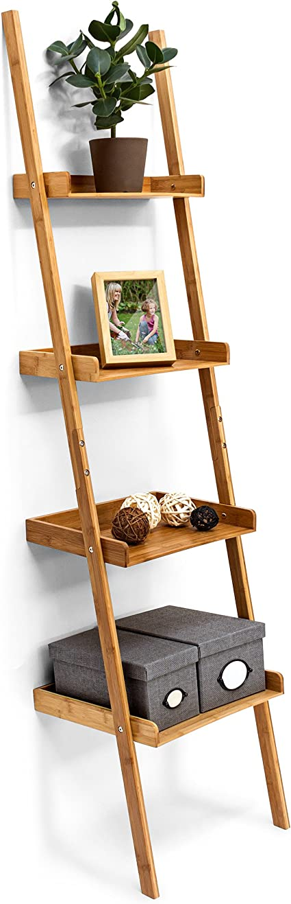 Relaxdays – Estantería Estilo Escalera de bambú, 4 estantes: 176 x 44 x 37 cm, para salón, Cuarto de baño, Almacenamiento, Sala de Estar, Cocina, ...